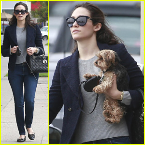 Emmy Rossum Takes Her Pup for a Walk Before 'Comet' Hits Theaters This Friday