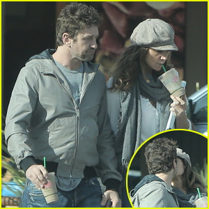 Gerard Butler Shares Starbucks Smooch with Morgan Brown