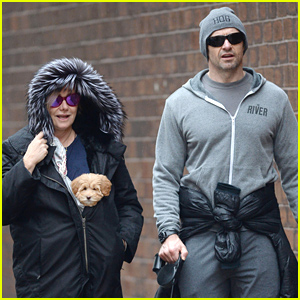 Hugh Jackman & His Wife Deborra-Lee Furness Take Their New Pup Out For a Christmas Eve Walk