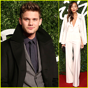 Jeremy Irvine & Ashley Madekwe Look Amazing in Suits at British Fashion Awards