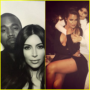Kim Kardashian & Kanye West Cuddle Up at the Family Christmas Eve Party