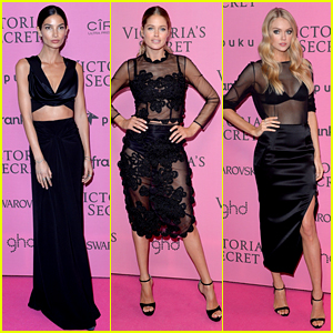 Lily Aldridge & Doutzen Kroes Are Beauties in Black at Victoria's Secret's After Party!