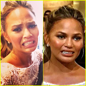 Chrissy Teigen Spoofs Her Cry Face at Golden Globes 2015