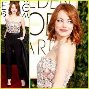 Emma Stone Rocks a Jumpsuit at Golden Globes 2015!