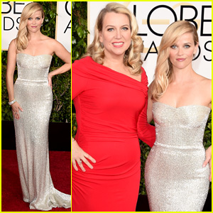 Reese Witherspoon Hits the Golden Globes 2015 Red Carpet with 'Wild' Author Cheryl Strayed