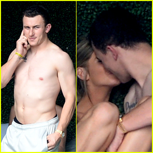 Shirtless Johnny Manziel Makes Out with His Girlfriend in Miami