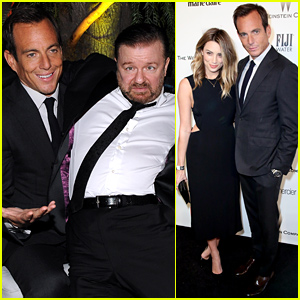 Will Arnett Debuts New Girlfriend Arielle Vandenberg, Gets Silly with Ricky Gervais at the Golden Globes After Party 2015