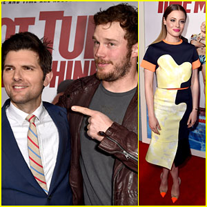 Chris Pratt Supports His 'Parks & Recreation' Co-Star Adam Scott at the 'Hot Tub Time Machine 2' Premiere