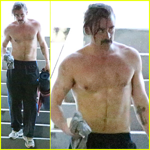 Colin Farrell Is Shirtless & Sweaty After His Yoga Class
