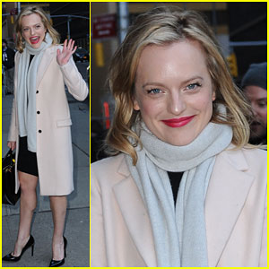 Elisabeth Moss is Beaming Before Her 'Late Show' Appearance