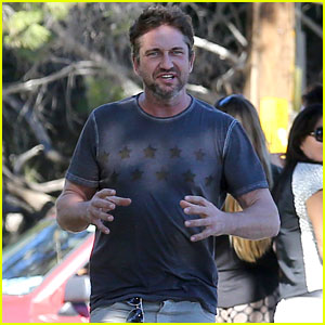 Gerard Butler Shows Off His Pecs During a Jog