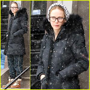 Jennifer Lawrence Wears Geek Chic Eyeglasses in Boston