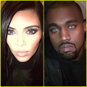 Kim kardashian kanye west look wolf like in matching blue contact
