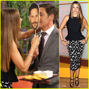 Sofia Vergara Kisses Cardboard Cutout of Joe Manganiello