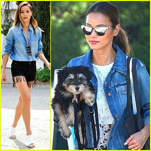 Jamie Chung Takes Pup Ewok To The Park To Play