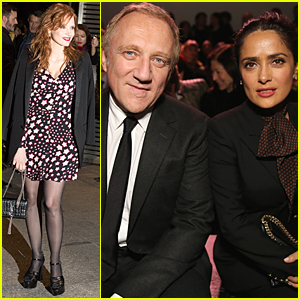 Jessica Chastain & Salma Hayek Bond Over Female Empowerment at Saint Laurent Show