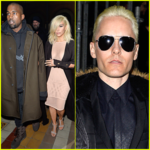 Kim Kardashian & Jared Leto's Platinum Blonde Hair Get All the Attention at Lanvin Show