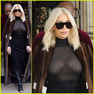 Kim Kardashian Shows Major Cleavage in See-Through Shirt