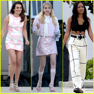 Lea Michele & Emma Roberts Step Out on 'Scream Queens' Set