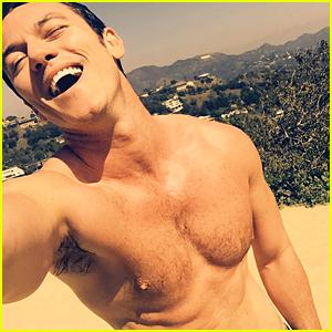 Luke Evans Goes Shirtless & Sweaty During Los Angeles Heat Wave