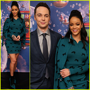 Rihanna Goes Emerald Green for 'Home' Promo with Jim Parsons