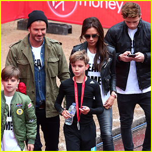 David & Victoria Beckham Bring Sons Brooklyn & Cruz to Cheer on Romeo at Mini London Marathon