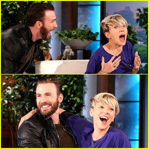 Chris Evans Scares Scarlett Johansson on 'Ellen' - Watch Now!