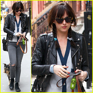Dakota Johnson Enjoys Some Downtime with Her Dog