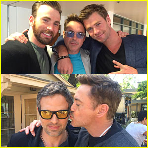 Robert Downey Jr Finds Himself In A Chris Evans And Pratt Sandwich During The Avengers Age Of Ultron Press Junket On Saturday Afternoon April 11