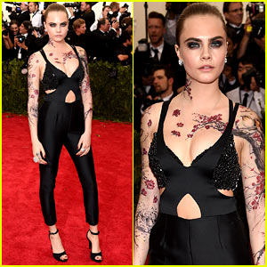 Cara Delevingne Is Covered in Fake Tattoos at Met Gala 2015!