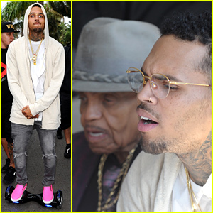 Chris Brown Rides His Hovertrax Around Cannes, Hangs with Joe Jackson!