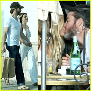 Chris Pine Kisses Girlfriend Vail Bloom During Romantic Lunch