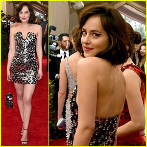 Dakota Johnson Opts For a Mini Dress at Met Gala 2015