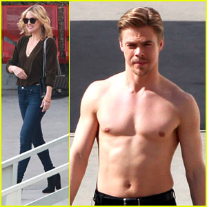 Kate Hudson Visits a Shirtless Derek Hough at 'DWTS' Set!