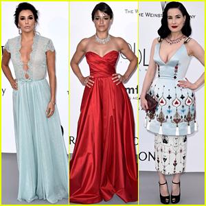 Eva Longoria & Michelle Rodriguez Go Glam for amfAR's Cannes Gala!
