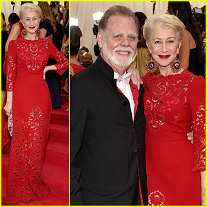 Helen Mirren Flashes Red Bra at Met Gala 2015