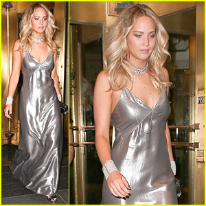 Jennifer Lawrence Changes Into Shiny Silver Dress For Met Gala After Party 2015