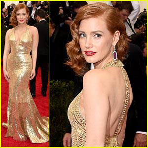 Jessica Chastain Is a Golden Goddess at Met Gala 2015!
