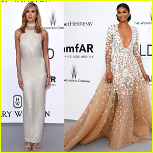 Karlie Kloss & Chanel Iman Are So Elegant at amfAR's Cannes Gala