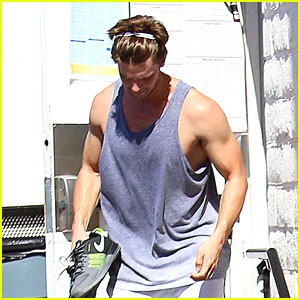 Patrick Schwarzenegger Shows Off Buff Arms Before the Kentucky Derby