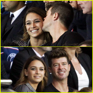 Robin Thicke & Girlfriend April Love Geary Display Some PDA in Paris