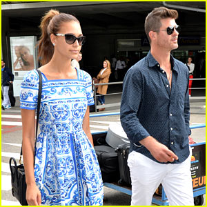Robin Thicke Arrives in Cannes with Girlfriend April Love Geary