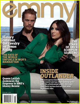Sam Heughan & Caitriona Balfe Heat Up 'Emmy' Mag's Cover