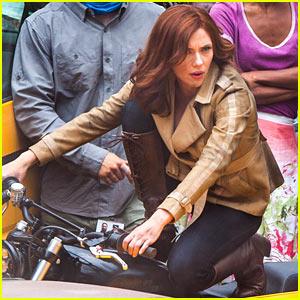 Scarlett Johansson on 'Captain America: Civil War' Set - First Photos!