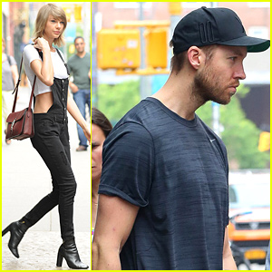 Taylor Swift Wears Crop Top with Overalls, Leaves Apartment Separately from Calvin Harris