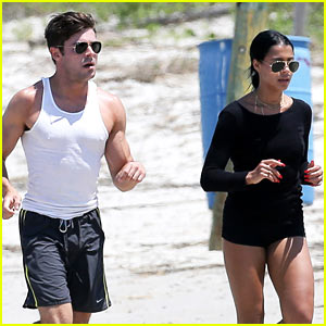 Zac Efron & Sami Miro Work Out Together on the Beach!