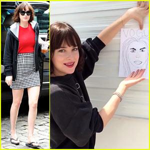 Dakota Johnson Tries to Draw Cara Delevingne for 'Vogue'