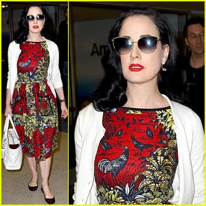 Dita Von Teese Returns to LAX in Same Dress She Left Wearing!