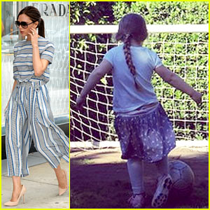 Harper Beckham Is Already Getting Soccer Lessons from Dad!
