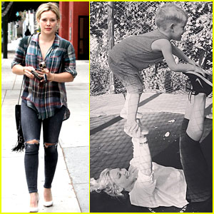 Hilary Duff & Son Luca Show Off Cirque Du Soleil Moves
